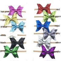 new arrival summer princess hair accessories big glitter bow with nylon headband girl headwear accessories 24ps/lot