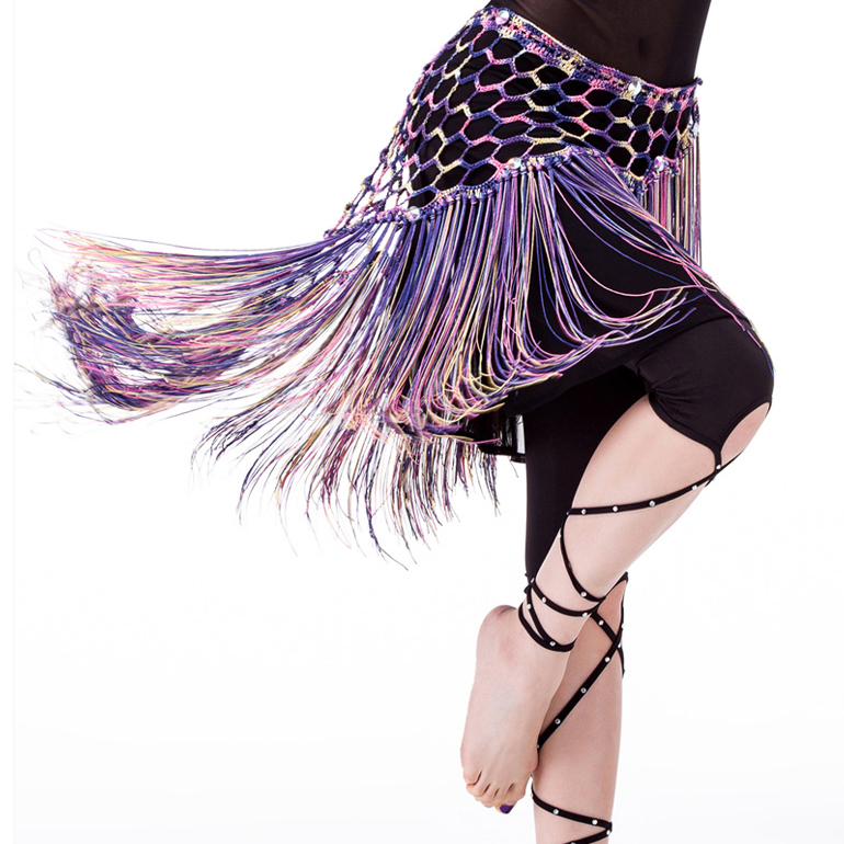 Multicolored Belly Dancing Clothing Stretchy Long Tassel Knit Triangle Shawls Hand Crochet Women Belly Dance Hip Scarf Belt