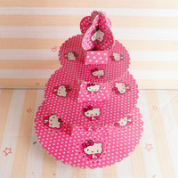1pc 3 Tier Cute Pink Hello Kitty Cake Stand Cupcake Holder Kid Boy Birthday Party Supplies