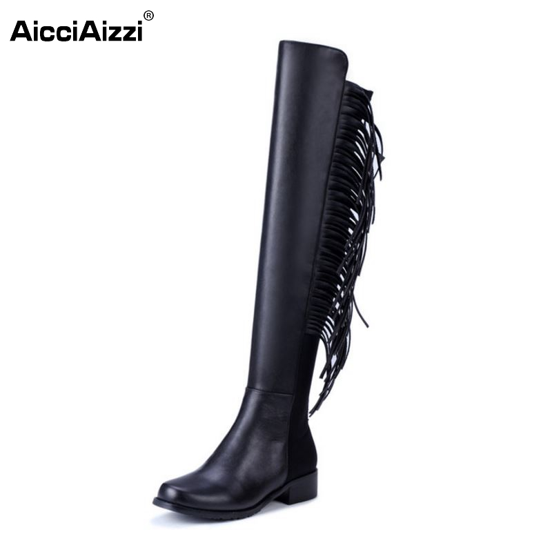 New Design Women Real Leather Over Knee Boots Woman Round Toe Flat Long Boot Fashion Tassel Flats Shoes Size 34-39