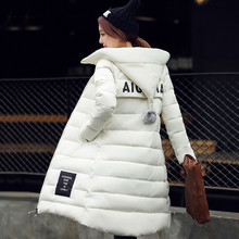 2017 Hooded down jacket autumn and winter new Korean long section down padded Slim thin coat