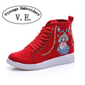 Vintage Embroidery Old Beijing Opera Women's High Top Canvas Shoes Lace up Fabric Ladies Flat Platforms Zapatos Mujer