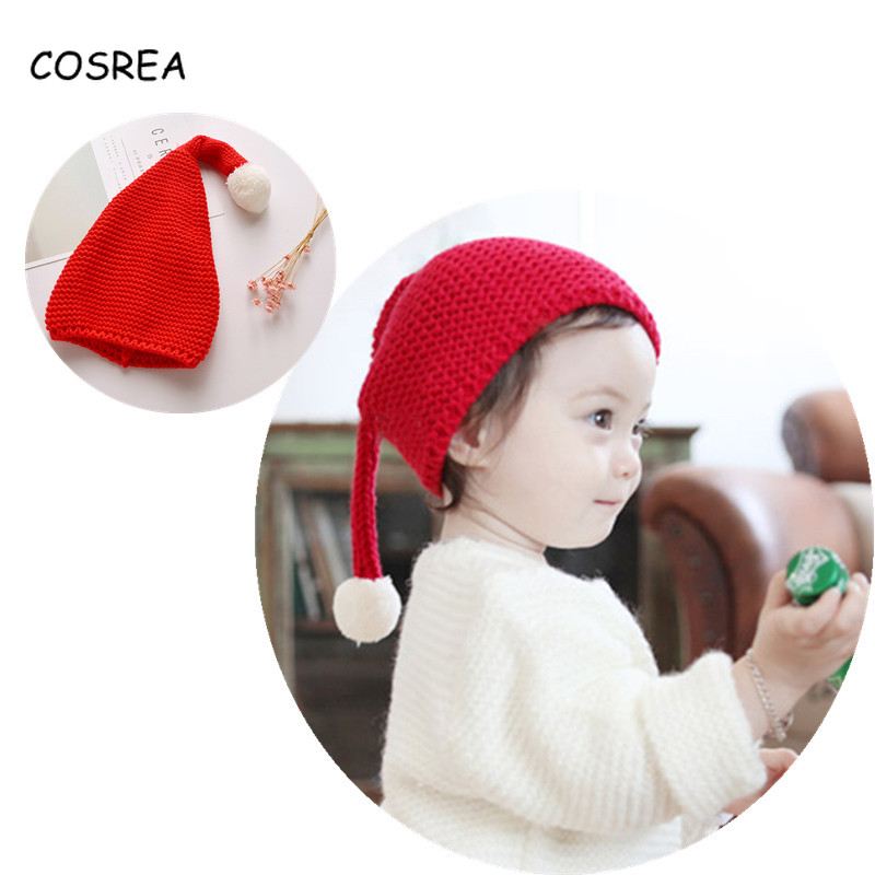 New Style Thick Woolen Christmas Hat Candy Knit Big Ball Cute Warm Xmas Autumn and Winter Solid Color Elf Long Tail Hat Children