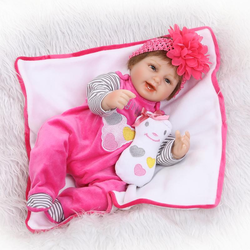 New Style Smiling 16 Silicone Babies Alive Soft Toys Reborn Baby Doll Kids Playmate Gift For Girls Bouquets Kids Birthday Gift beanie babies yo gabba gabba plex 35cm plush toys