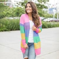 Women sweater Fall sweaters for women Neon stripe cardigan Pastel sweater Casual Flat Knitted Striped Long Cardigans
