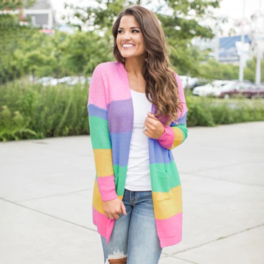 Camisola feminina outono camisolas para mulher neon stripe cardigan pastel camisola casual plana de malha listrado longo cardigans