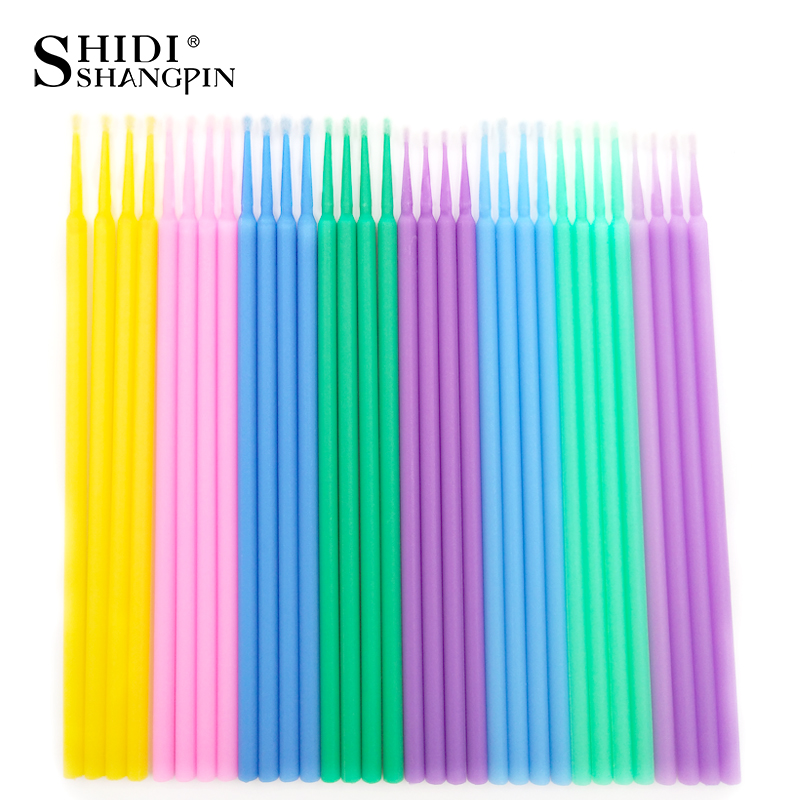 SHIDISHANGPIN 100 PCS Disposable Make Up Eyelashes Mini Individual lashes Applicators Mascara Brush Lash Extensions Cotton Swab 4