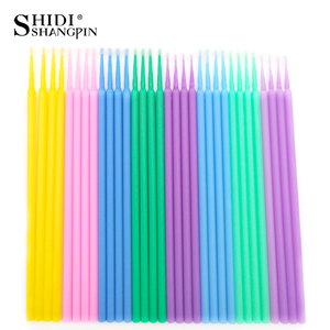 Image 5 - SHIDISHANGPIN 100 PCS Einweg Make Up Wimpern Mini Einzelne wimpern Applikatoren Mascara Pinsel Lash Extensions Baumwolle Tupfer