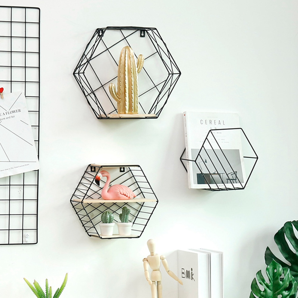Nordic Hexagonal Storage Rack Creative Wall Mounted Organizer Shelf Household Geometric Figure Wall Decoration Holder in Storage Holders Racks from Home Garden