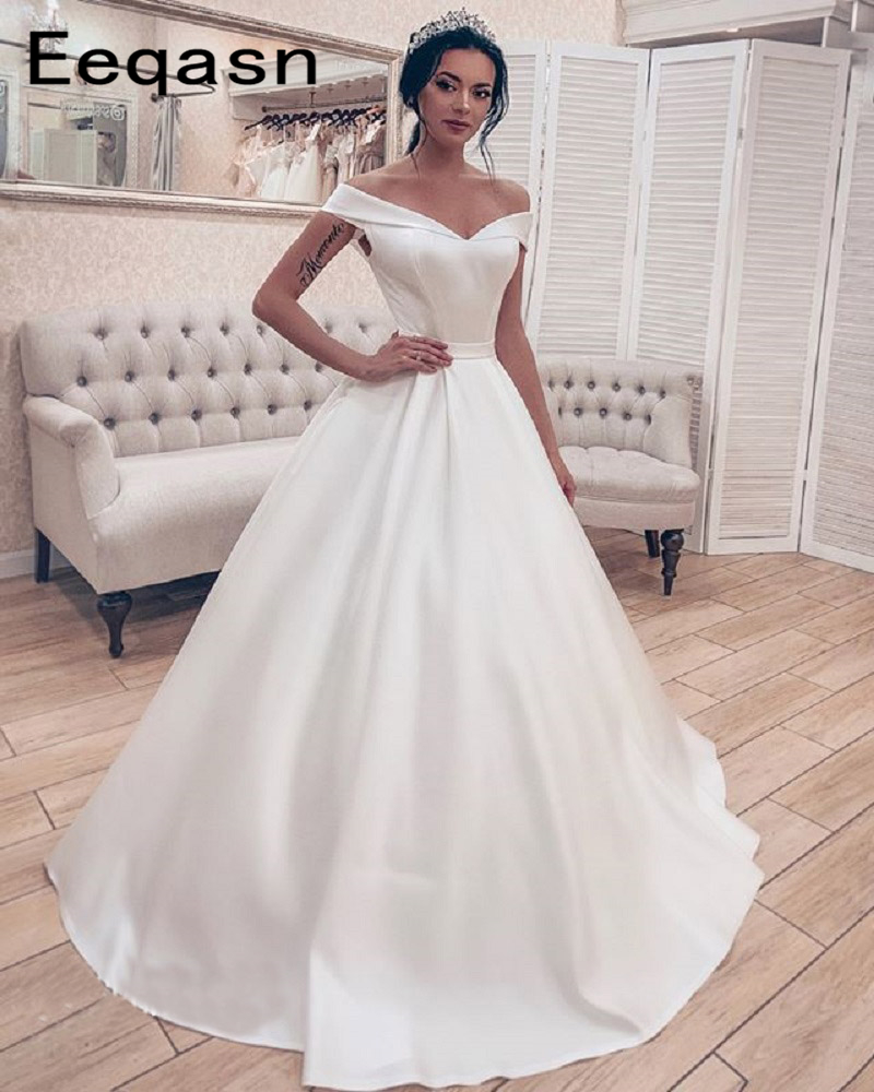 Simple Elegant Satin Wedding Dresses Ball Gown Corset Off