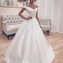 Vestido de novia de satén Simple elegante vestido de baile corsé sin hombros vestidos de novia blancos vestidos largos de novia 2020