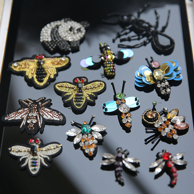 3D Handmade Rhinestone beaded Patches for clothing Animal bee dragonfly clothes  patch Sew on embroidery parches 7596d7b30352