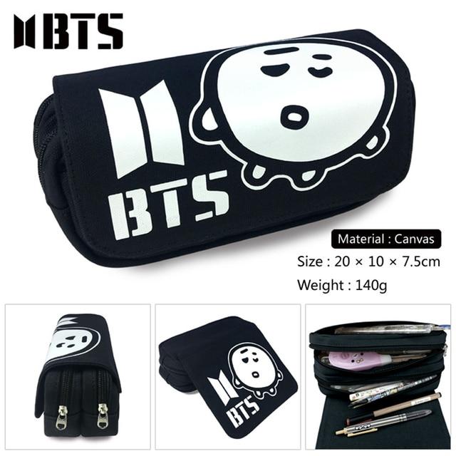 Kpop BTS Bangtan Boys Canvas Cosmetic Bags School Supplies Case SHOOKY  Double Layer Pencil Holder Vintage Makeup Bags 3db74a1f3d5a