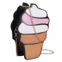 2017 de Las Mujeres Bolsos de Moda Helado Lindo de la Historieta de Las Mujeres de LA PU de Cuero de Mini Cadena de Hombro Bolsa de Mensajero del Bolso de Crossbody Bolsas
