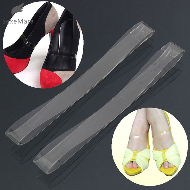 SexeMara 1 Pair Gel Fly Fall Shoes Foot Protection Dancing Walking Transparent Invisible Flexible Shoelace High Heel Shoes Bands