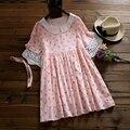 2017 nuevo conejo del verano collar de la muñeca dress a-line lindo peter Pan Collar de Color Rosa Vestidos de Las Mujeres Diseño Casual Mujeres de Talla grande ropa