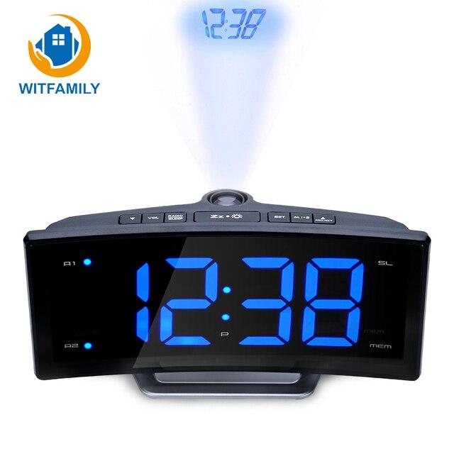 Modern Led Digital Clock FM Radio Alarm Clock Electronic Projector Watch Mirror Clock Smart Luminova Table for Office Bedroom
