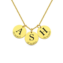 AILIN Personalized Initial Date Coin Necklace Women Fashion Sterling Silver