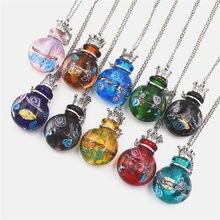цена на 1pcs round Diffuser Perfume Refillable Coloured handmade Essential Oil Aromatherapy Bottle Pendant Necklace pendant necklace