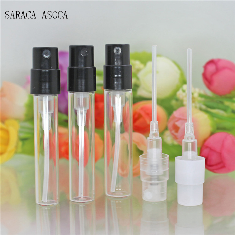 1.5ml 2ml 2.5ml Glass Bayonet Bottle With White Black Clear 3 Color Plastic Sprayer Sample Spray Bottle 100pcs