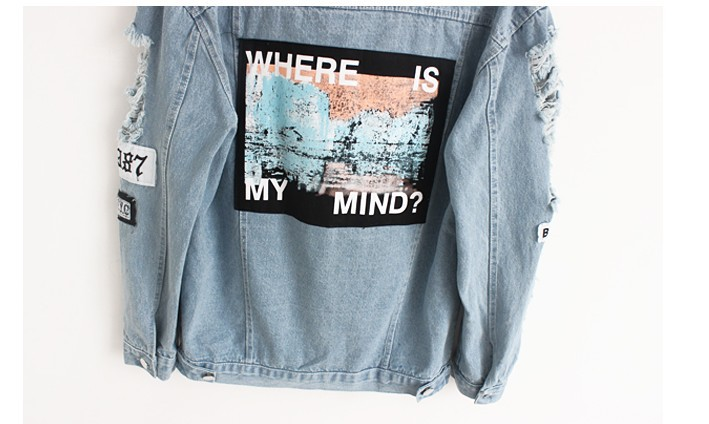 Women Frayed Denim Bomber Jacket Appliques Print Where Is My Mind Lady Vintage Elegant Outwear Autumn Fashion Coat 12