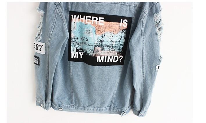 Women Frayed Denim Bomber Jacket Appliques Print Where Is My Mind Lady Vintage Elegant Outwear Autumn Fashion Coat 18