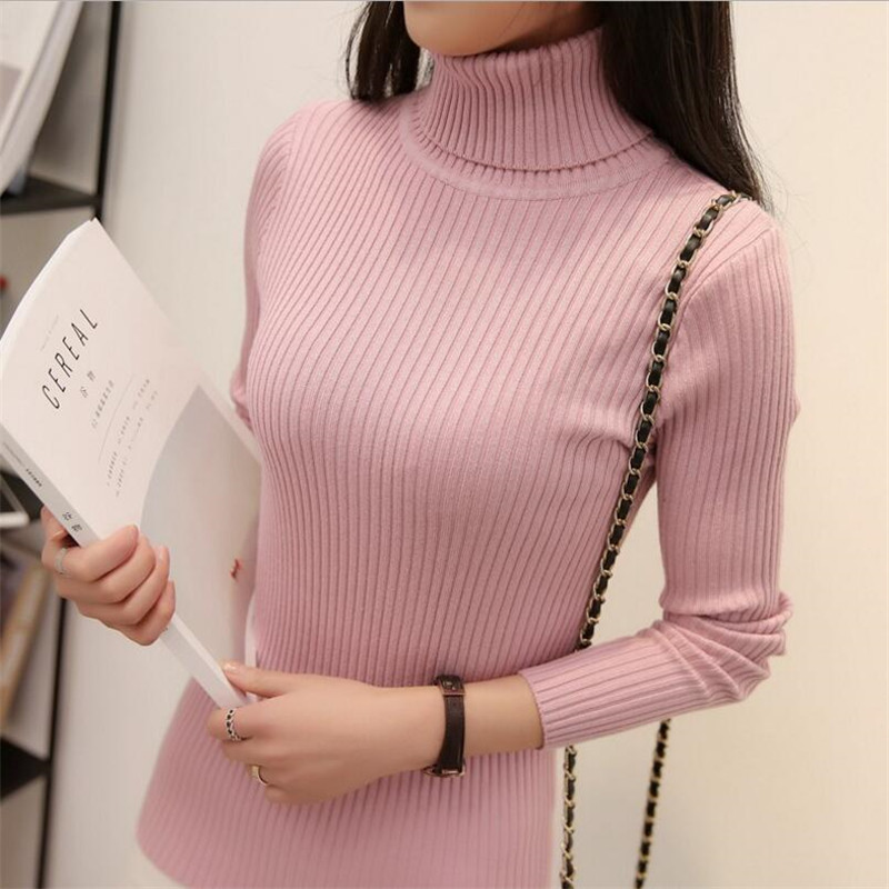 Autumn And Winter New Two-neck Collar Thick Warm Slim Sweater Women's High Collar Bottoming Shirt  Long Sleeve