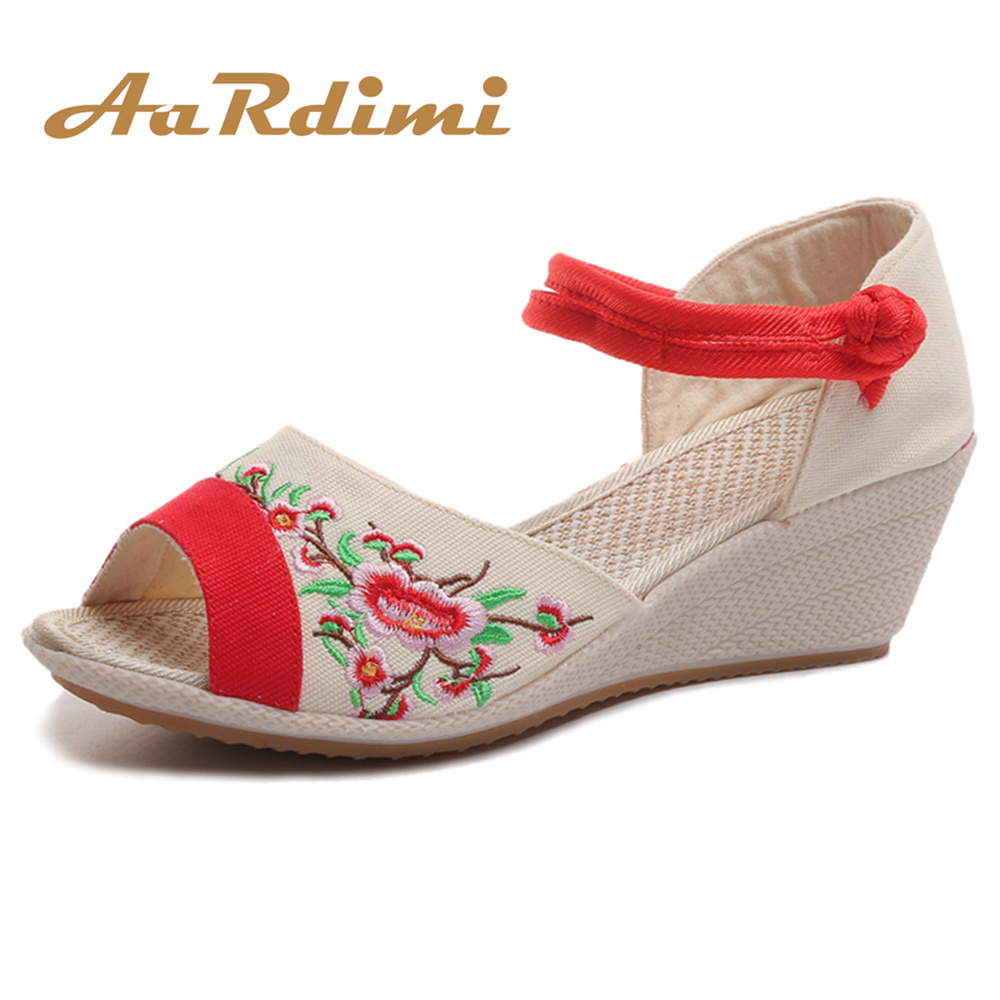 AARDIMI Wedges Shoes Platform-Sandals High-Heeled Peep-Toe Women Mujer Embroidered New-Arrival