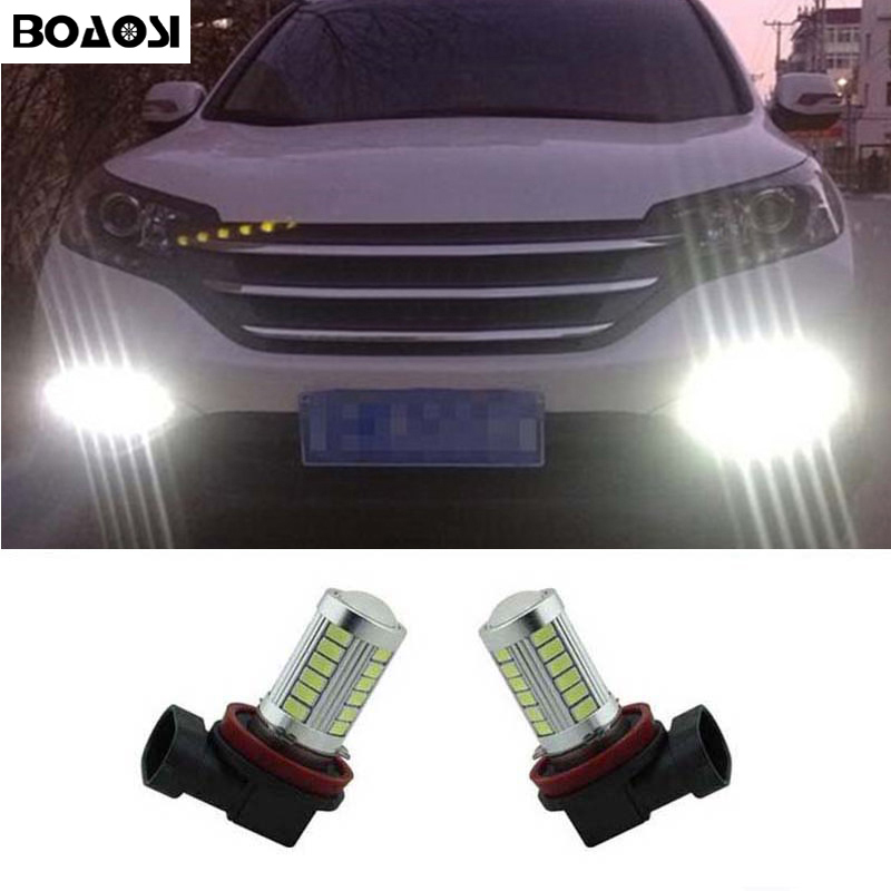 BOAOSI 2x Super White H8 H11 CREE Chip LED Fog Light Driving Bulbs Error Free for Honda civic fit accord Crider crv boaosi 2x h11 led canbus 5630 33 smd bulbs reflector mirror design for fog lights for honda civic fit accord crider crv