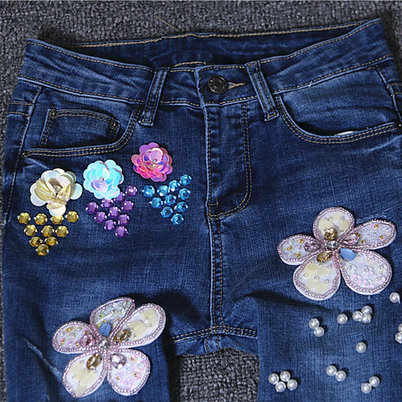 Spring Summer Women's Korean Style Casual Pencil Pants Bling Floral Pattern Slim Fit Trousers Women Ankle Length Torn Jeans Girl drawstring floral casual ankle length pants