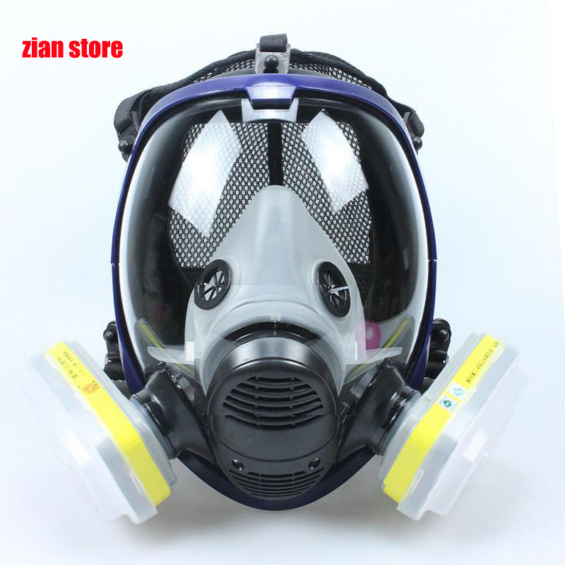 Chemical Mask 6800 7 In 1 6001 Gas Mask Acid Dust Respirator Paint Pesticide Spray Silicone Filter Laboratory Cartridge Welding