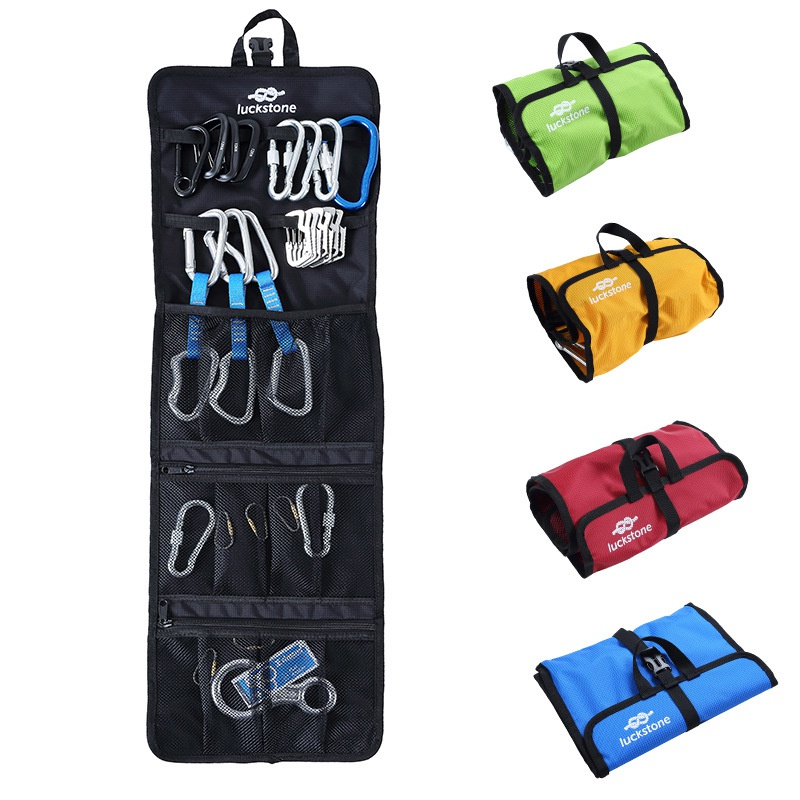 Hanging Storage Outdoor Bag 420D Oxford Cloth Lightweight Foldable Zipper Mesh Pouches Rope Bags For Ice Rock Climbing Hook 25l universal outdoor foldable soft backpack lightweight multi pocket climbing tool storage bag waterproof nylon climbing bags