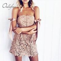 Ordifree 2019 Summer Sundress Sexy Mini Lace Dress Off Shoulder Slash Neck Sleeveless Crochet Bodycon Ladies Short Dress