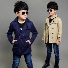 Классический детский плащ для мальчиков, повседневный Тренч для джентльменов 4-12 лет, Детская верхняя одежда для мальчиков