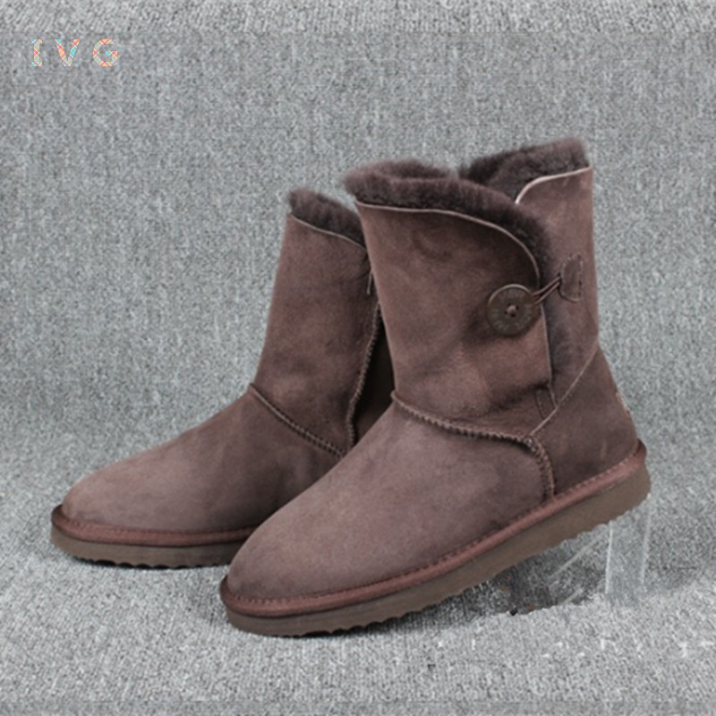 2017 Women's winter boots Australia Classic Bailey Button Sheepskin Snow Boots Warm Genuine Leather ug Boots Brand IVG size 4-12