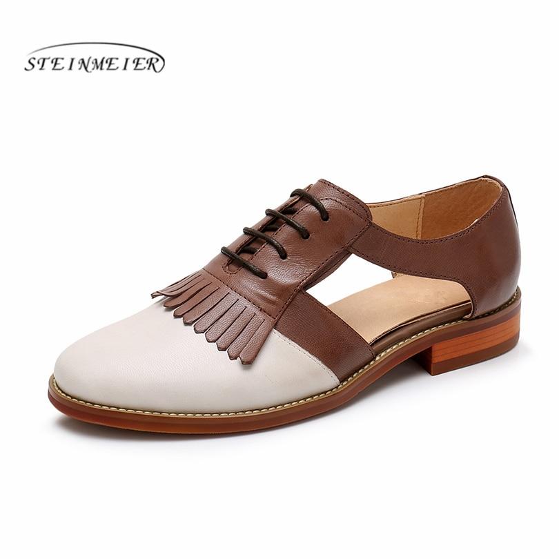 Genuine sheepskin Leather flats Sandals shoes yinzo Sandals handmade vintage British style oxford shoes for women 2018 summer women genuine leather flat sandals shoes handmade beige white oxford slippers vintage square toe british style shoes