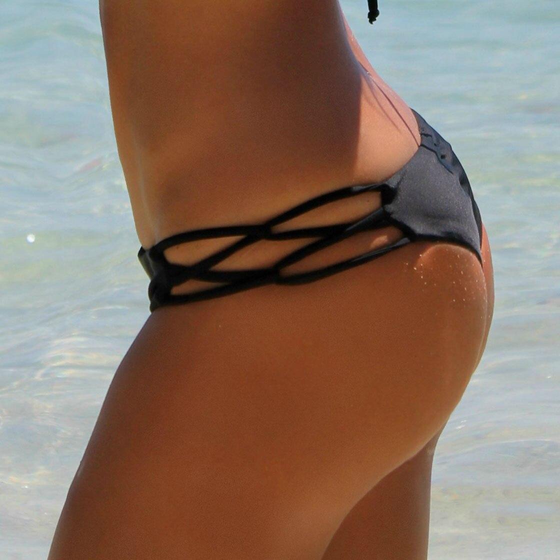 Womens Girl Bikinis Bottom Thong Sexy Swimsuit Vintage Swimwear Black Brazilian Biquini Women T-back Cheeky Bikini Bottoms
