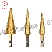 OMY 3Pcs Metric Spiral Flute Step HSS Steel 4241 Cone Hex Shank Titanium Coated Drill Bits