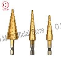 OMY 3Pcs Metric Spiral Flute Step HSS Steel 4241 Cone Hex Shank Titanium Coated Drill Bits