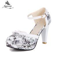Sgesvier Fashion Pumps For Women High Heel Pumps Round Toe Thick High Heels Platform Pumps Black Red Blue Shoes Woman B206