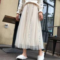 5eb369965f YICIYA Khaki Mesh Sequin Skirt Women Midi Plus Size Pleated Tulle Tutu Tule  Rok A Line
