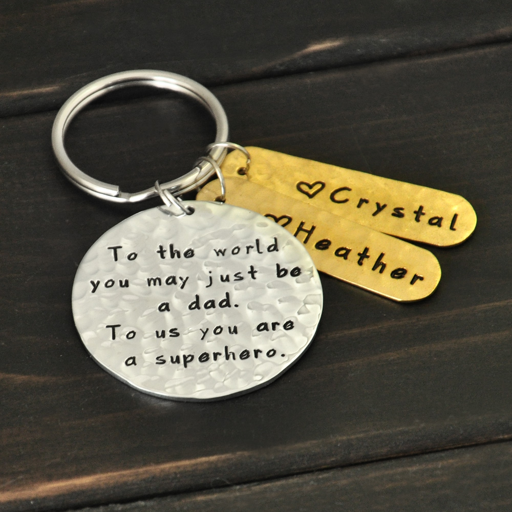 Dad Keyring Engraved Names Custom Daddy Keychain Personalized Daddy Key Chain