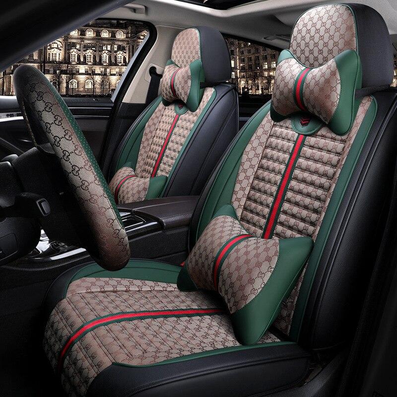 Housse de siège de voiture couvre coussin universel pour volkswagen vw polo 6r 9n berline sagitar santana volante caddy de 2010 2009 2008 2007