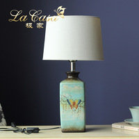 TUDA Ceramic Table Lamps American Delicate Butterfly Pattan Dream LED Table Lamp For Bedroom Vintage Table