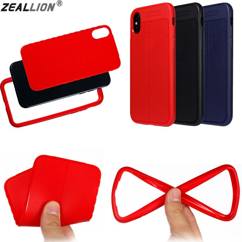 ZEALLION For iPhone 5 6 6s 7 8 Plus X 360 Degree Protection Soft Silicone Litchi Leather Pattern Case Cover