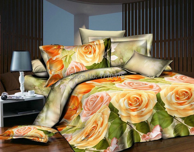 Delightful Newest Design Hot Sale Yellow Bridal Embroidery Flower Design Bulk Bed  Sheets Luxury Jacquard Bedding Set