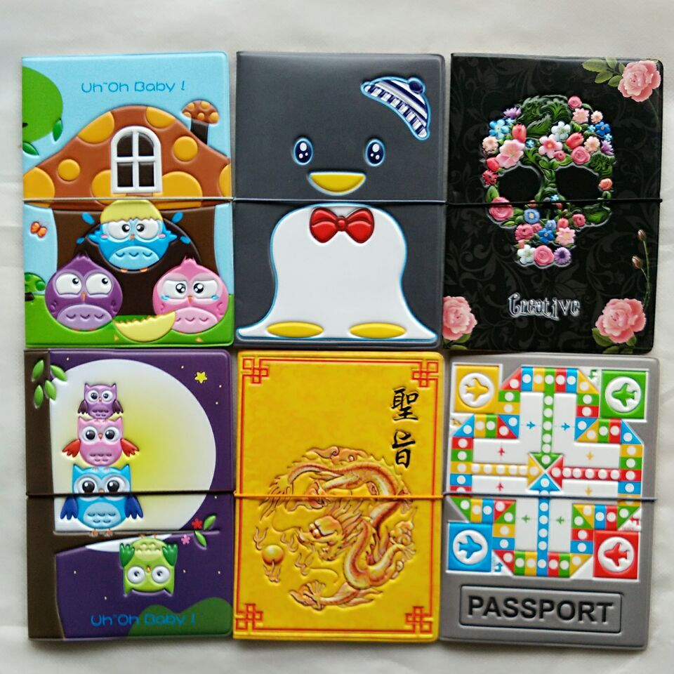 2016 New Fashion 3D Passport Covers U Pick Style Travel Passport Holders PVC/PU Card & ID Holders Passport Covers Package Purse