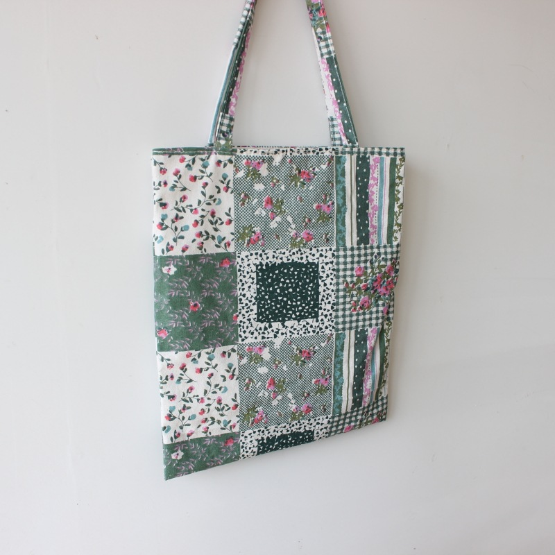 Brand New Handmade Cotton Linen Shopping Bag Carrying Tote Print Square Flower Blue D06