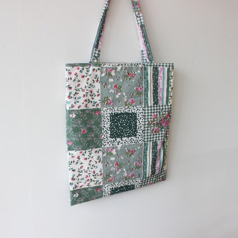 Brand New Handmade Cotton Linen Shopping Bag Carrying Tote Print Square Flower Blue D06 3d flower print square beach throw