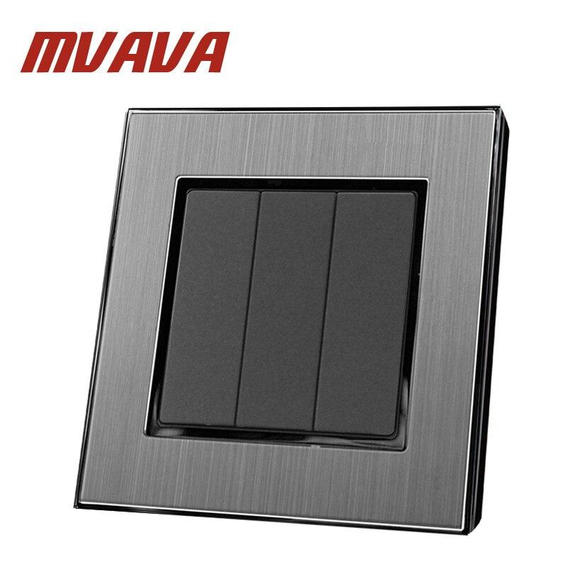 MVAVA 3 Gang 2 Way Smart Home EU UK Standard Silver Metal Frame Push Button Lighting Staircase Switch 110V-220V